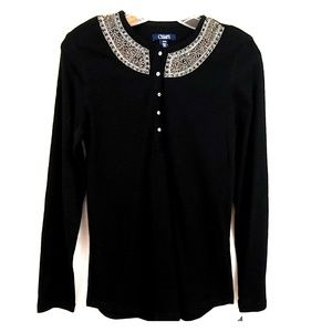Chaps Black Beaded Collar Long Sleeve Pullover M